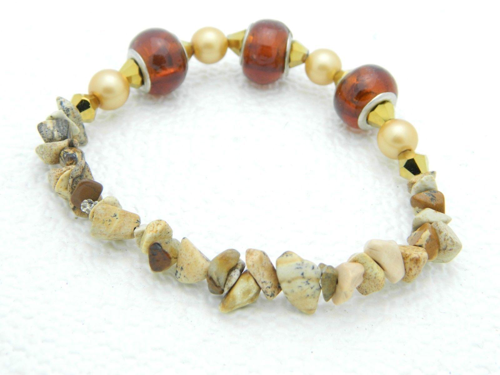VTG Polished Stone Faux Amber Gold Tone Bead Stretch Bracelet image 2