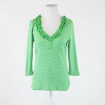 Green white striped 100% cotton LAUREN RALPH LAUREN 3/4 sleeve blouse PM - $14.99