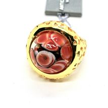 RING ANTICA MURRINA VENEZIA WITH DISC WITH MURANO GLASS RED GOLDEN AN205A14 image 6