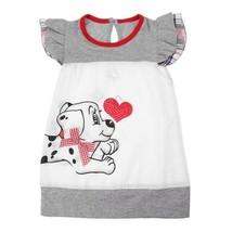 NEW Puppy Dog Sequin Heart Girls Sleeveless White Dress Valentines Day - $5.84