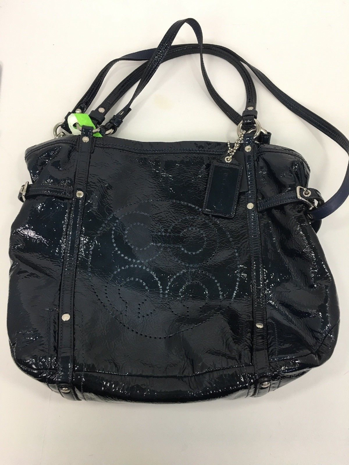 2a9548f3c2 Coach Bag Audrey Navy Blue Patent Leather Andie Cinched Shoulder Tote 17065  B2V