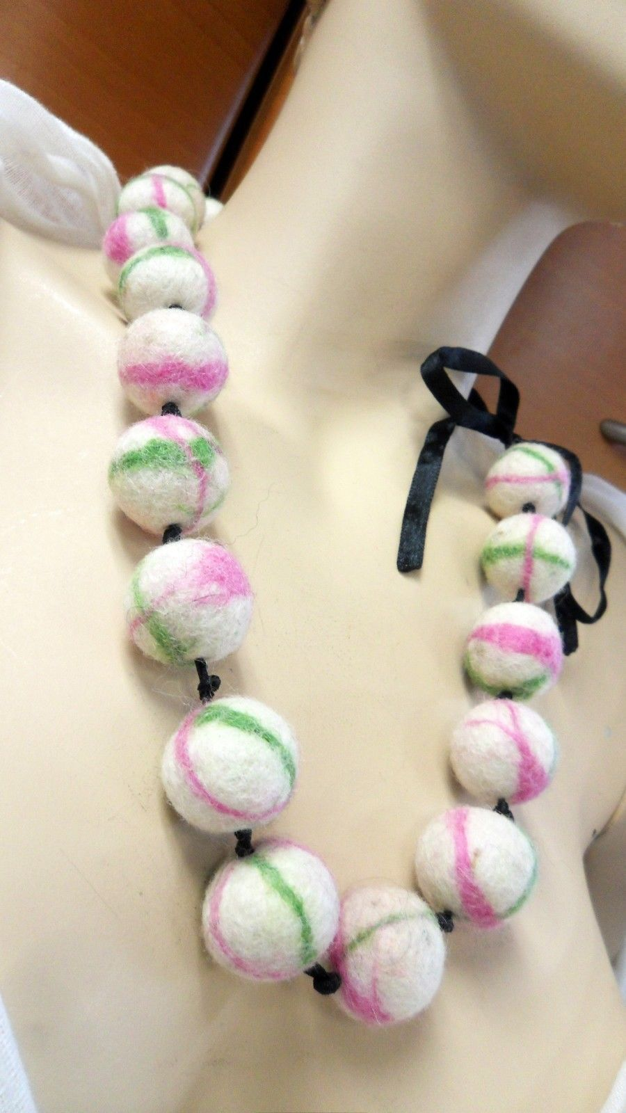 LONG NECKLACE FELTED HANDMADE IN EUROPE WHITE PINK UNIQUE HOLIDAY GIFT IDEA