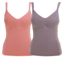 Rhonda Shear Everyday Molded Cup 2 Pack Camisole in Coral Cloud/Mocha, XL - $25.73