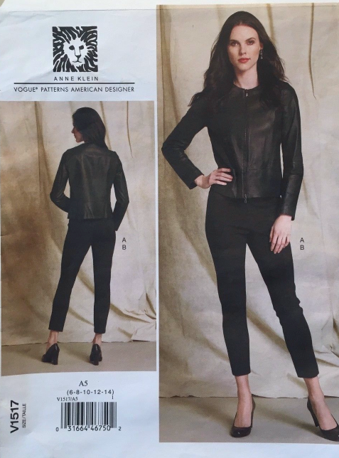 VOGUE V1517 ANNE KLEIN COLLARLESS FITTED JACKET PULL-ON PANTS PATTERN SIZE 14-22