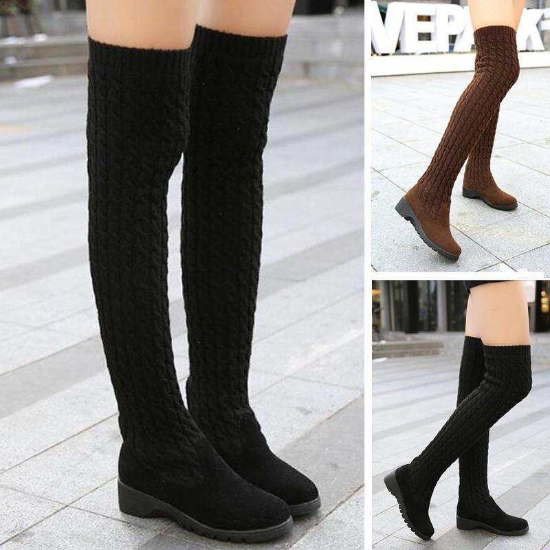 Women's Fashion Wool Knitting Boots Autumn Winter Sexy Over Knee High Boots