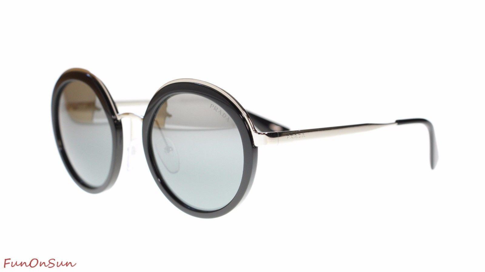 e0d262eeb8a2 S l1600. S l1600. Previous. Prada Round Womens Sunglasses PR50TS 1AB6N2  Black Grey Mirror Silver Gradient