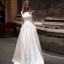 Princess Cut Scoop Neck Off Shoulder A-Line Solid Pleated Satin Ballroom Wedding image 1