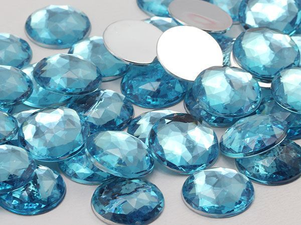 18mm Blue Aqua Lite A08 Flat Back Round Acrylic Gems - 30 Pieces