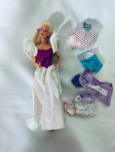 Blonde Hair Barbie with Purple White Gown and Extra clothing Lot - $18.55