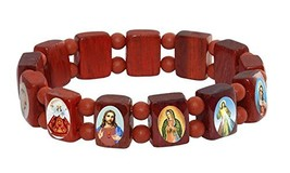 Catholica Shop Catholic Religious Wear Brown Wood Elasticated Bracelet w... - $9.76