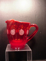 "Fostoria RED Coin Glass Pitcher 6.5"" Vintage - $64.35"