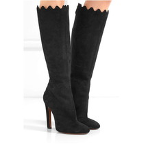 New AZZEDINE ALAIA Size 6 RUFFLE Scallop Knee High Black Suede Boots $1760 - $439.00