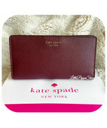 KATE SPADE LEATHER CAMERON LARGE SLIM BIFOLD WALLET IN CHERRYWOOD - $49.38