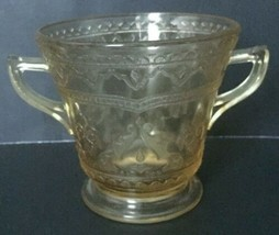 Vtg Depression Glass Patrician Pedestal Dish Cup With Handles Amber Tint - $24.74