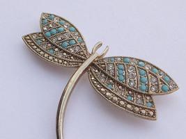 Antique 1930's Monet faux turquoise Rhinestone gold enamel dragonfly bro... - $78.21