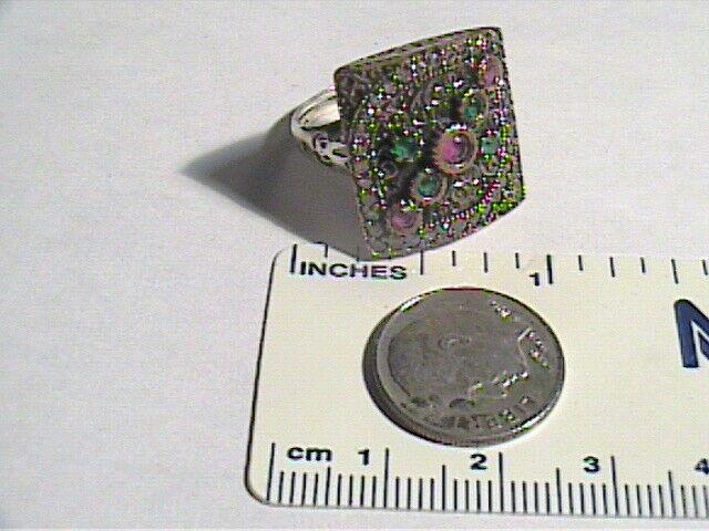 EMERALD SILVER RING 6 ruby NATURAL 925 STERLING ARTISANAL VINTAGE OLD HANDMADE