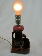 "Vintage Water Pump Lamp, 11"" Burgundy Red Ceramic Art Pottery Light - WORKS - €27,79 EUR"