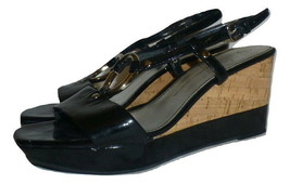 Franco Sarto Womens Black Glare Wedge Sandals Shoes Size 8 - $12.86