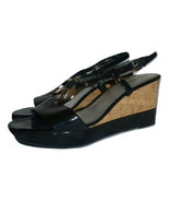 Franco Sarto Womens Black Glare Wedge Sandals Shoes Size 8 - $12.86