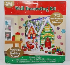 Christmas Deluxe Wall Decorating Kit - North Pole Workshop - New In Pkg  - $14.01