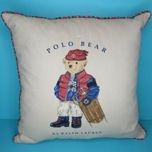"Vintage Ralph Lauren Polo Teddy Bear Sled Tan Blue 18"" Pillow Goose Down... - $84.95"