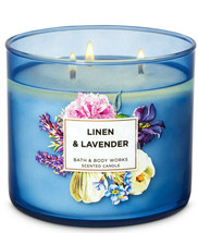 Bath & Body Works Linen & Lavender Three Wick.14.5 Ounces Scented Candle - $22.49