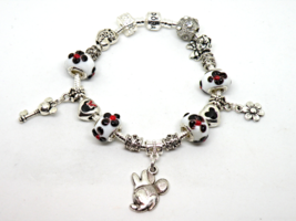Silver Minnie Mouse European Murano Beaded Bracelet. Gift bag included - $19.95
