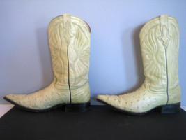Vtg Roach Kickers Faux Ostrich Cowboy Boots Mexico Pale Green Pointed To... - $38.52
