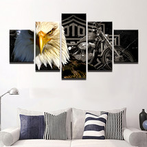 5pcs Eagle Harley Davidson Bike Printed Canvas HD Wall Art Picture Home ... - $26.00+