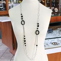Collier en Argent 925, Onyx Noir Ondulée, Longueur 115 cm, Chaîne Ovale image 1