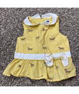 infant girls janie and jack horse theme tank sleeveless blouse yellow 12-18 mont - $6.90