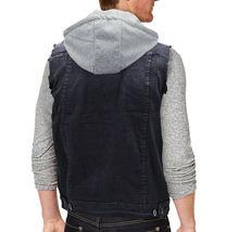CS Men's Ripped Distressed Button Up Denim Jean Vest Removable Hood Slim Fit image 4