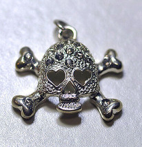 NICE Skeleton Heart eyes Skull and Cross Bone Gothic  Charm Sterling Sil... - $19.91