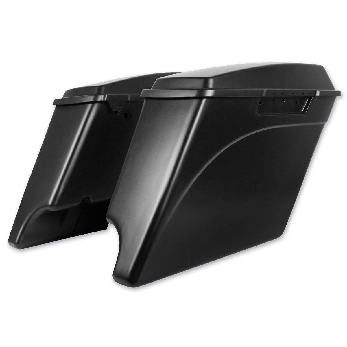 "Black Denim 4"" extended stretch saddlebags For Harley Davidson 1994 -2018 - $480.00"