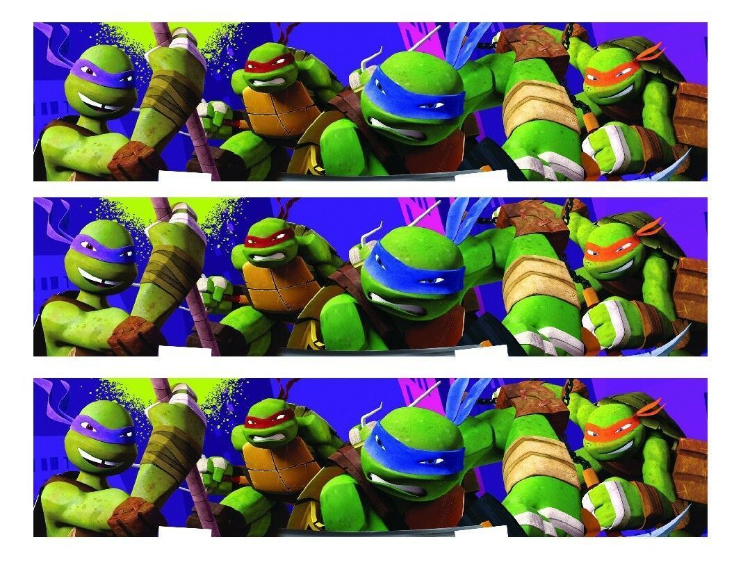Primary image for TMNT Teenage Mutant Ninja Turtles Edible Cake Strips - Cake Wraps