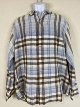 Tommy Bahama Men Size L Brown Blue Check Shirt Long Sleeve Linen/Cotton - $21.60
