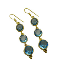 Blue Gold Plated Glass enticing Blue Topaz CZ gemstone Earring UK gift - $10.53