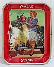 Vintage COCA COLA Tray Roadster Girls Original Coke Metal Server Convert... - $47.88