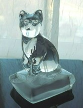 Lead Crystal Glass Cat Paperweight Figurine Made In France Cristal d'Arques  - $17.81
