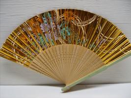 Asian Hand Painted Gold Flower Floral Hand Held Folding Fan # Fan41 - $12.99