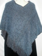 Sweater Knit Blue Poncho Style Shag Top Free Size Free Shipping to US - $15.88