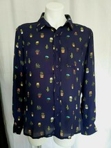 Available By Angela Navy Blue Cactus Blouse Button Down Long Sleeves - $28.71