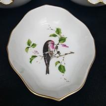 KAISER Porcelain Trinket Tray Dish Pink Finch Bird Golden Crown Sticker ... - $10.00