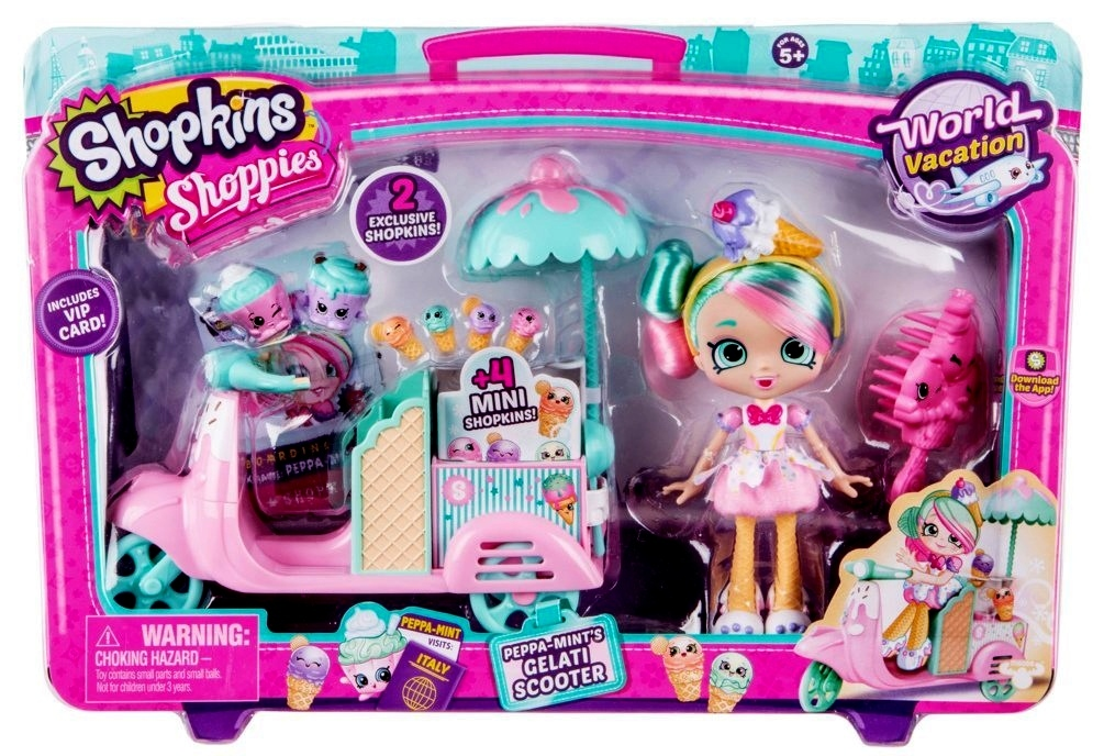 Shopkins Shoppies Peppa-Mint's Gelati Scooter Vacation World Italy