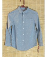 Cat & Jack Boys/Mens Long Sleeve Button Down Shirt Diamond Print Sz M (8... - $10.73