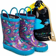 OutdoorMaster Kids Rain Boots - Illustrated Gift Bag, Easy-On Handles, B... - $18.40