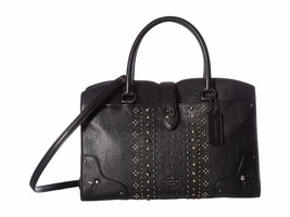 NWT COACH MERCER 30 BANDANA RIVETS LEATHER SATCHEL BLACK - $232.19
