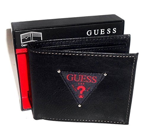 New Guess Men's Black & Red Leather Passcase Double Billfold Credit Card Wallet