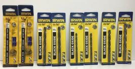 """(New) Irwin  1/16"""", 11/32"""", 15/64"""", 19/64"""", 23/64"""" Black Oxide Drill Bit... - $45.53"""