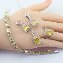Silver 925 Jewelry Sets For Women Square Yellow Cubic Zirconia Necklace Pendant  image 5